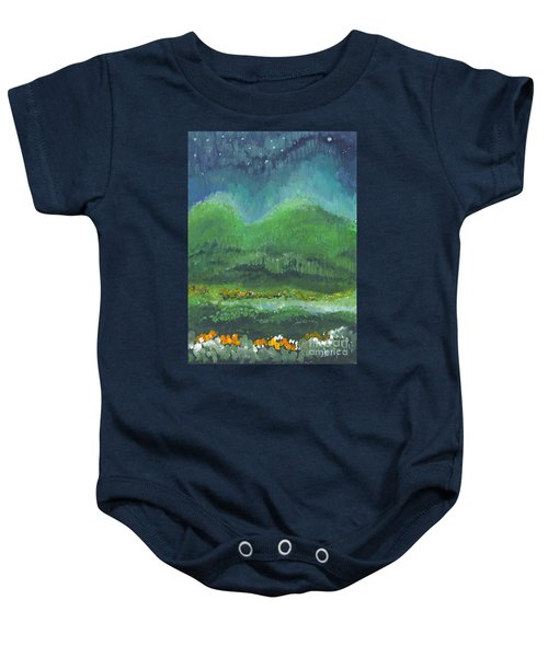 Mountains At Night Baby Onesie