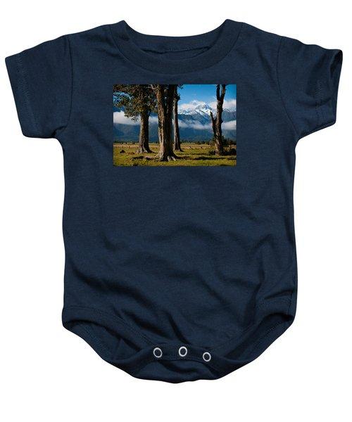 Mt Cook Through Trees Baby Onesie