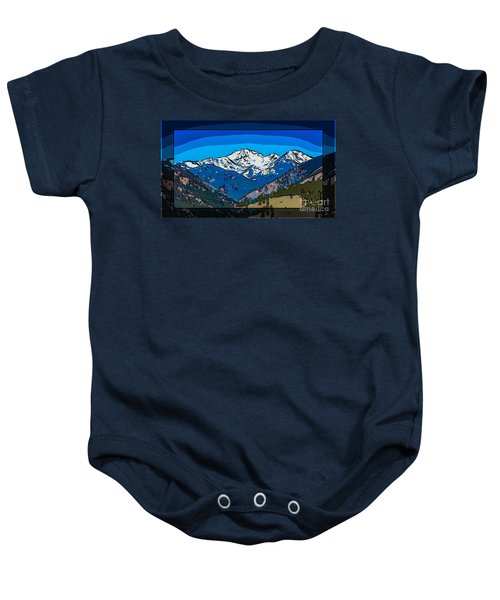 Mt Gardner In The Spring Abstract Painting  Baby Onesie