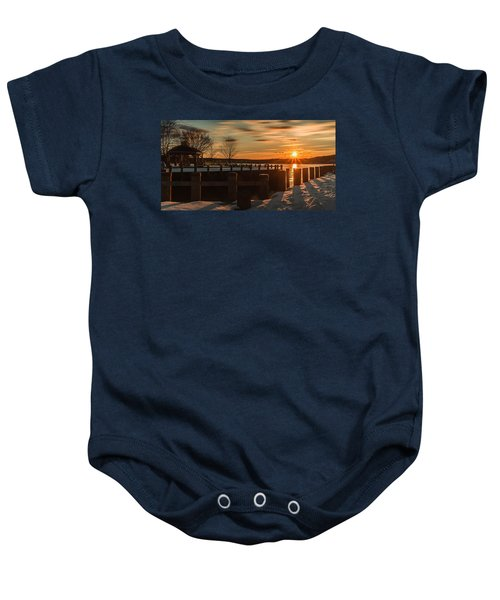 Northport New York Winter Sunset Baby Onesie