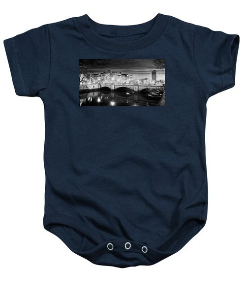 O Connell Bridge At Night - Dublin - Black And White Baby Onesie