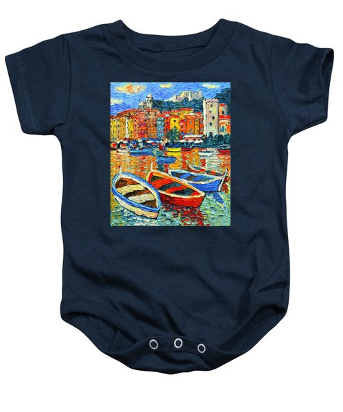 Portovenere Harbor - Italy - Ligurian Riviera - Colorful Boats And Reflections Baby Onesie