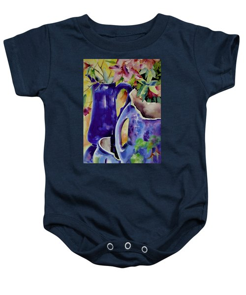 Pottery And Flowers Baby Onesie