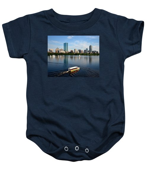 Rainbow Duck Boat On The Charles Baby Onesie