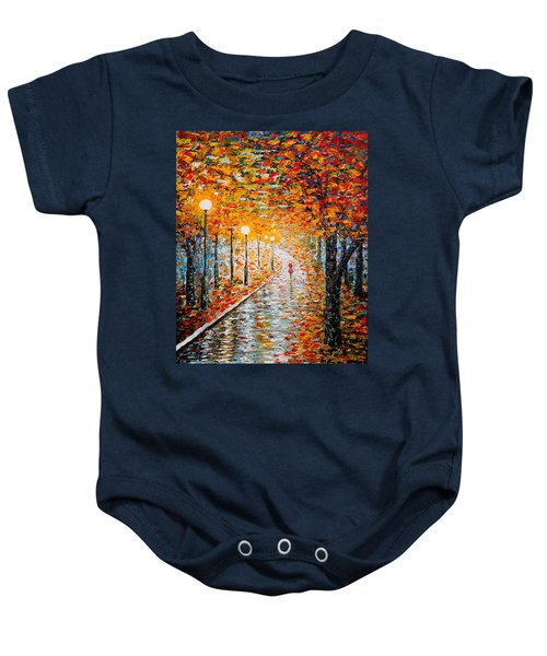Baby Onesie featuring the painting Rainy Autumn Day Palette Knife Original by Georgeta  Blanaru