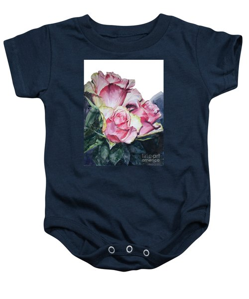 Watercolor Of A Bouquet Of Pink Roses I Call Rose Michelangelo Baby Onesie