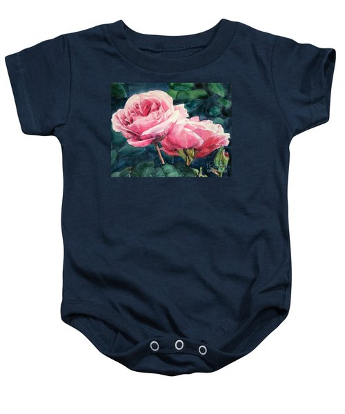 Watercolor Of Two Luscious Pink Roses Baby Onesie