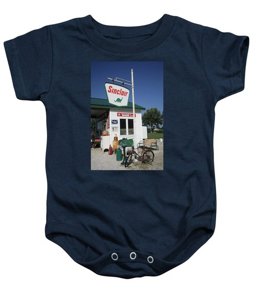 Baby Onesie featuring the photograph Route 66 - Sinclair Station by Frank Romeo