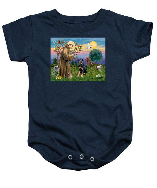 Saint Francis Blesses A Rottweiler Baby Onesie