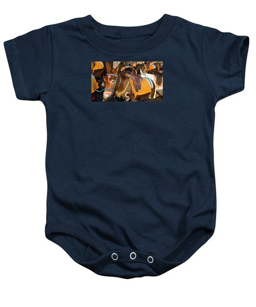 Baby Onesie featuring the photograph Santorini Donkeys Ready For Work by Colette V Hera  Guggenheim