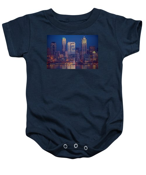 Seahawks 12th Man Seattle Skyline At Dusk Baby Onesie by Mike Reid