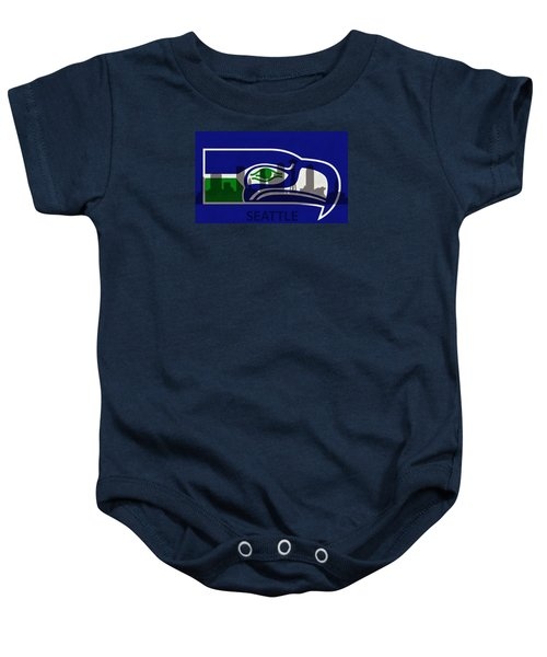 Seattle Seahawks On Seattle Skyline Baby Onesie by Dan Sproul