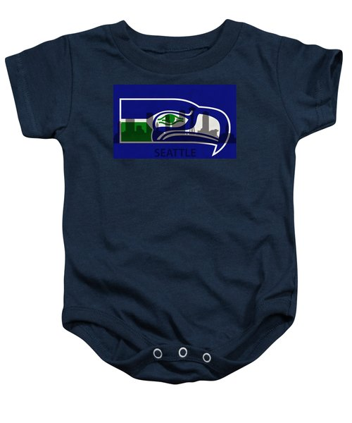 Seattle Seahawks On Seattle Skyline Baby Onesie