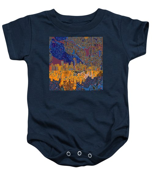 Seattle Skyline Abstract 4 Baby Onesie