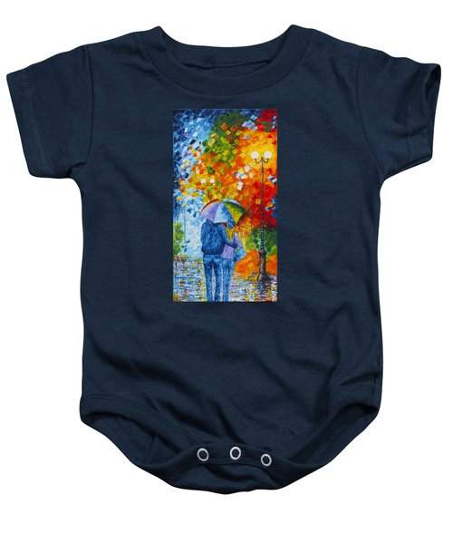 Baby Onesie featuring the painting Sharing Love On A Rainy Evening Original Palette Knife Painting by Georgeta Blanaru