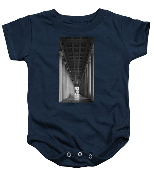 Soldier Field Colonnade Chicago B W B W Baby Onesie by Steve Gadomski