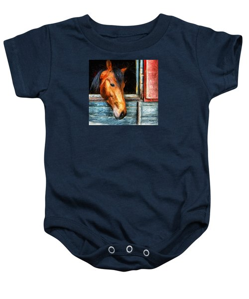 Strong Powerful Beautiful - Horse Drawing Baby Onesie