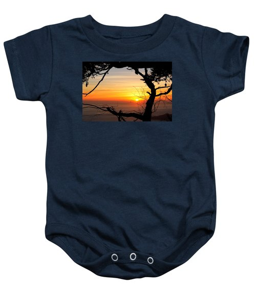 Sunset In A Tree Frame Baby Onesie