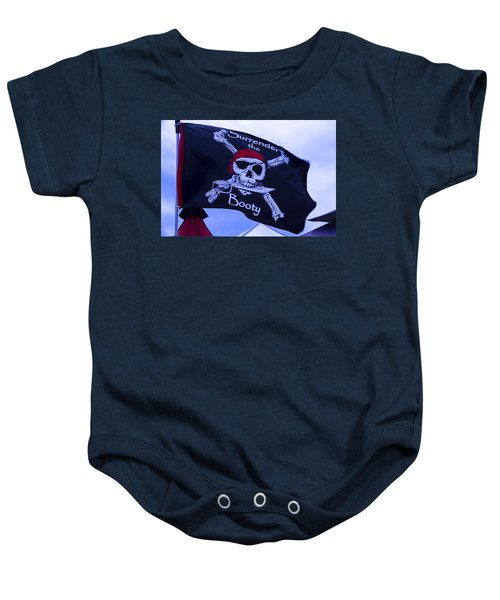Surrender The Booty Pirate Flag Baby Onesie