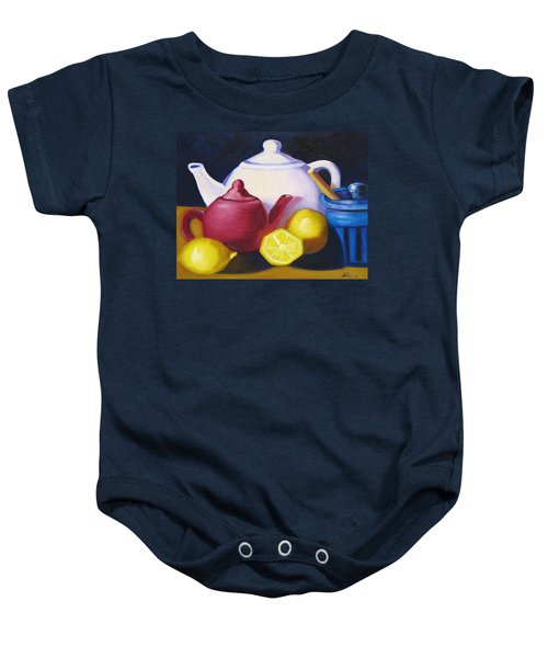 Teapots In Primary Colors Baby Onesie