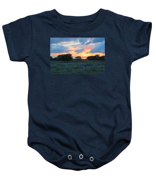 Texas Wildflower Sunset  Baby Onesie