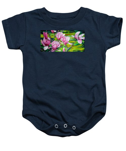 Watercolor Exercise Magnolias Baby Onesie