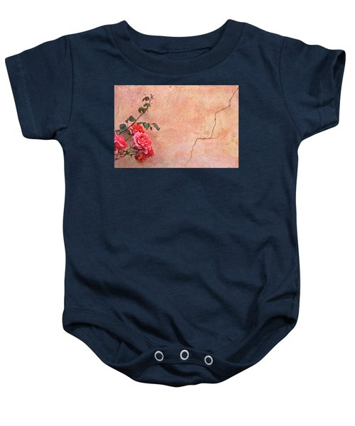 Cracked Wall And Rose Baby Onesie