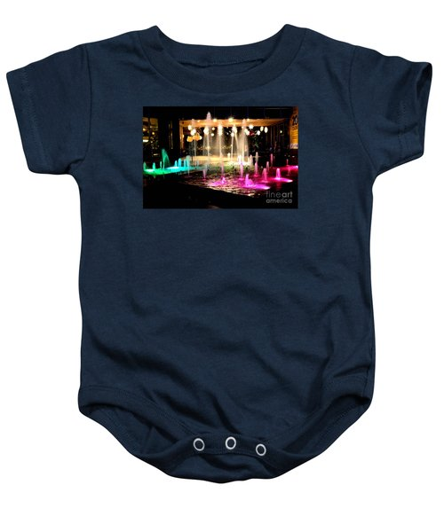 Water Fountain With Stars And Blue Green With Pink Lights Baby Onesie