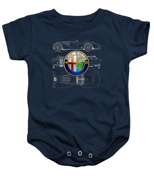 Alfa Romeo 3 D Badge Over 1938 Alfa Romeo 8 C 2900 B Vintage Blueprint Baby Onesie by Serge Averbukh