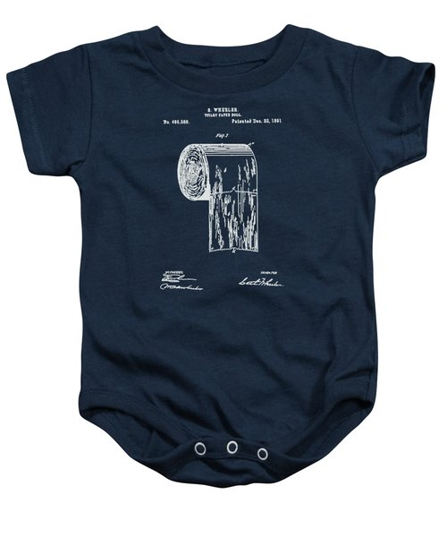 Antique Toilet Paper Roll Blueprint Patent Illustration  Baby Onesie