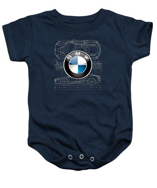 B M W 3 D Badge Over B M W I8 Blueprint  Baby Onesie by Serge Averbukh