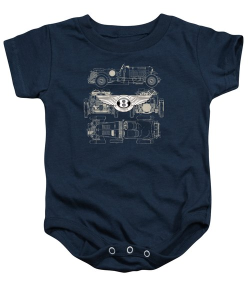 Bentley - 3 D Badge Over 1930 Bentley 4.5 Liter Blower Vintage Blueprint Baby Onesie by Serge Averbukh