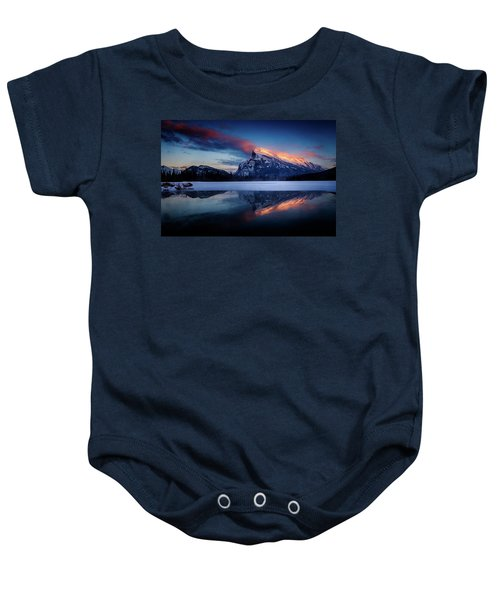 Last Light On Mount Rundle Baby Onesie