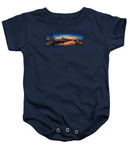 Nashville Skyline Panorama Baby Onesie by Brett Engle