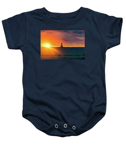 Sunset And Lighthouse Baby Onesie
