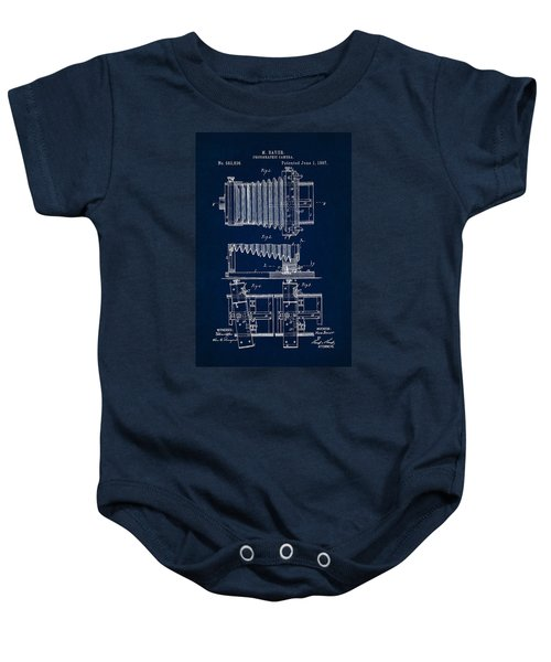 1897 Camera Us Patent Invention Drawing - Dark Blue Baby Onesie