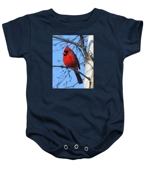 Northern Cardinal Baby Onesie by Ricky L Jones