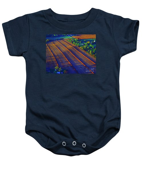 Aerial Farm Field Harvested At Sunset Baby Onesie