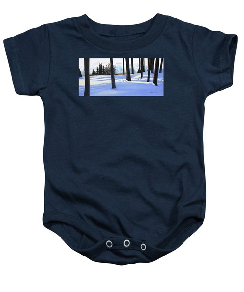 Afternoon In Snowy Mountains Baby Onesie
