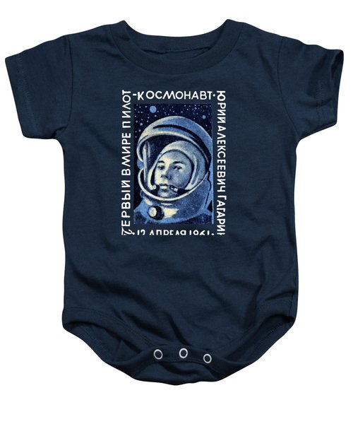 1961 First Man In Space, Yuri Gagarin Baby Onesie by Historic Image