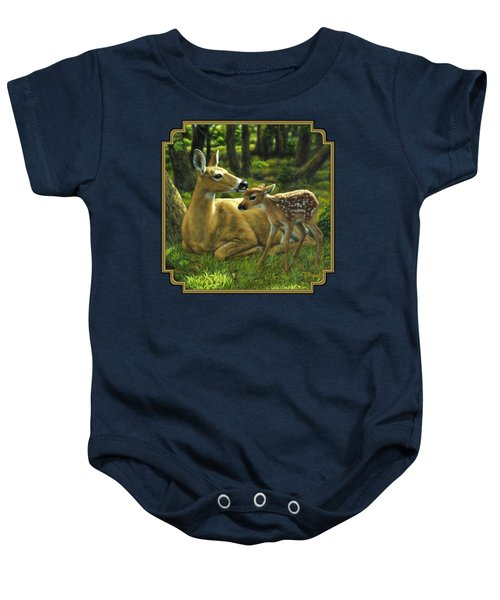 Whitetail Deer - First Spring Baby Onesie by Crista Forest