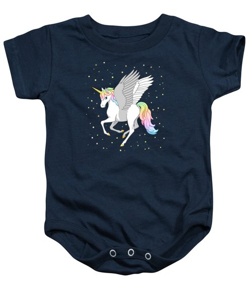 Pretty Rainbow Unicorn Flying Horse Baby Onesie