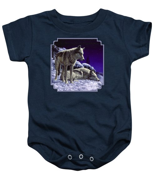 Wolf Painting - Night Watch Baby Onesie by Crista Forest