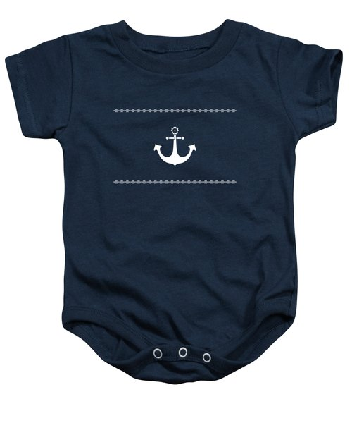 Anchor With Knot Border In White Baby Onesie