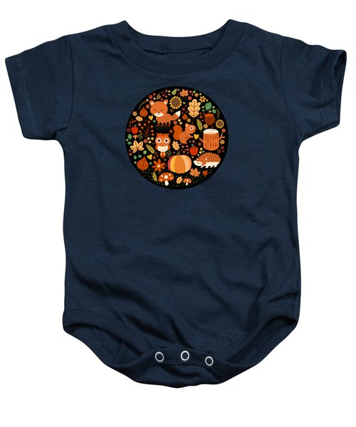 Autumn Party For Forest Friends Baby Onesie