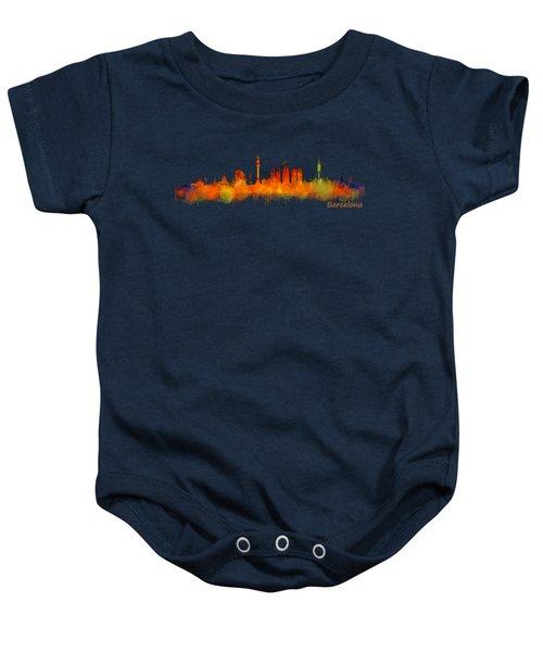 Barcelona City Skyline Hq V2 Baby Onesie