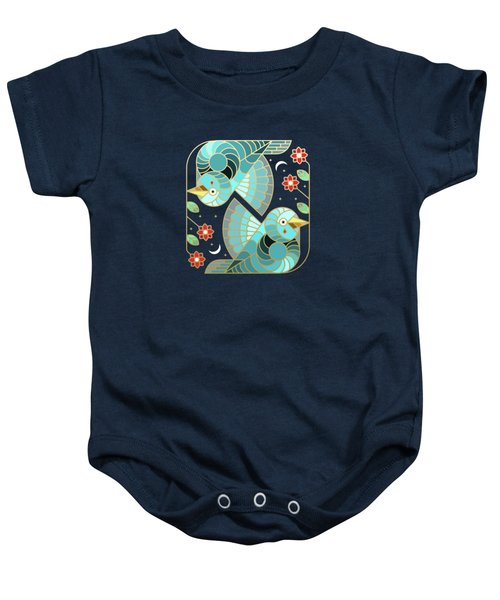Beautiful Art Deco Midnight Bluebirds And Blossoms Baby Onesie