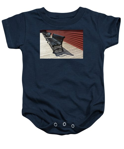 Bench Lines And Shadows 0841 Baby Onesie