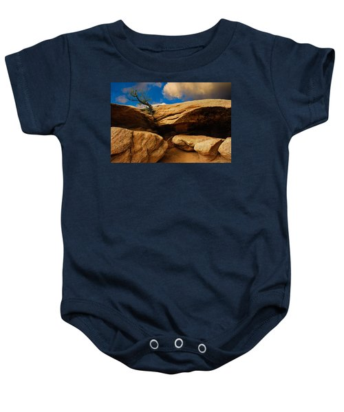 Between A Rock And A Hard Place Baby Onesie