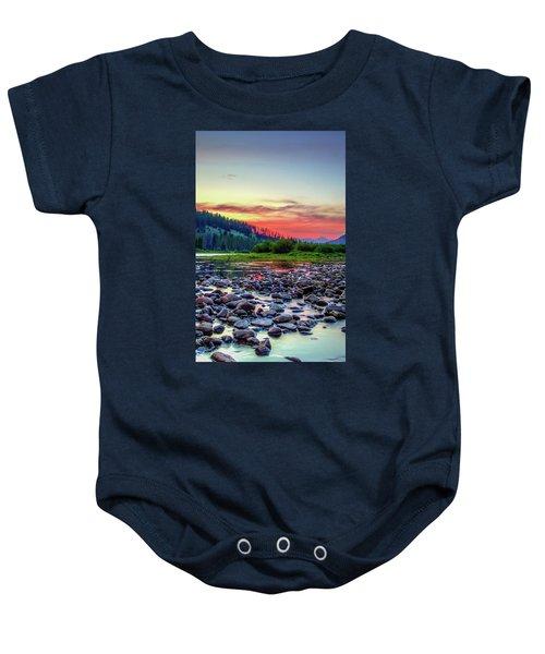 Big Hole River Sunset Baby Onesie